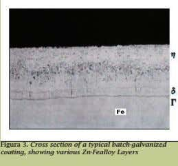 Figura 3. Cross section of a typical batch-galvanized coating, showing various Zn-Fealloy Layers