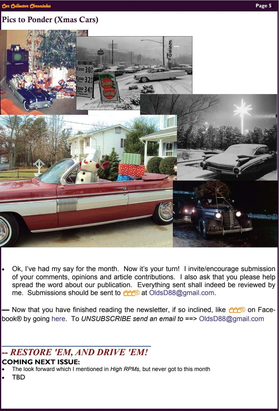 Car Collector Chronicles Page 5;; Pics to Ponder (Xmas Cars)  Ok, I've had my say