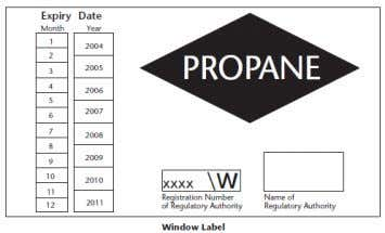 every 5 years.   Window label (LPG only):   Permanent label near door latch or the