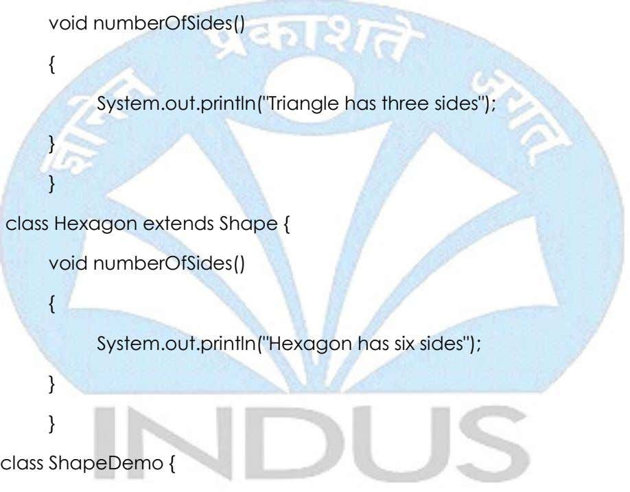 "void numberOfSides() { System.out.println(""Triangle has three sides""); } } class Hexagon extends Shape {"