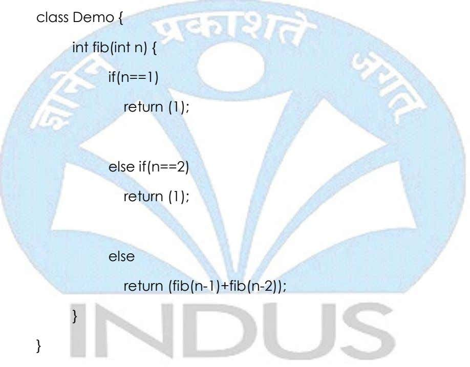 class Demo { int fib(int n) { if(n==1) return (1); else if(n==2) return (1); else