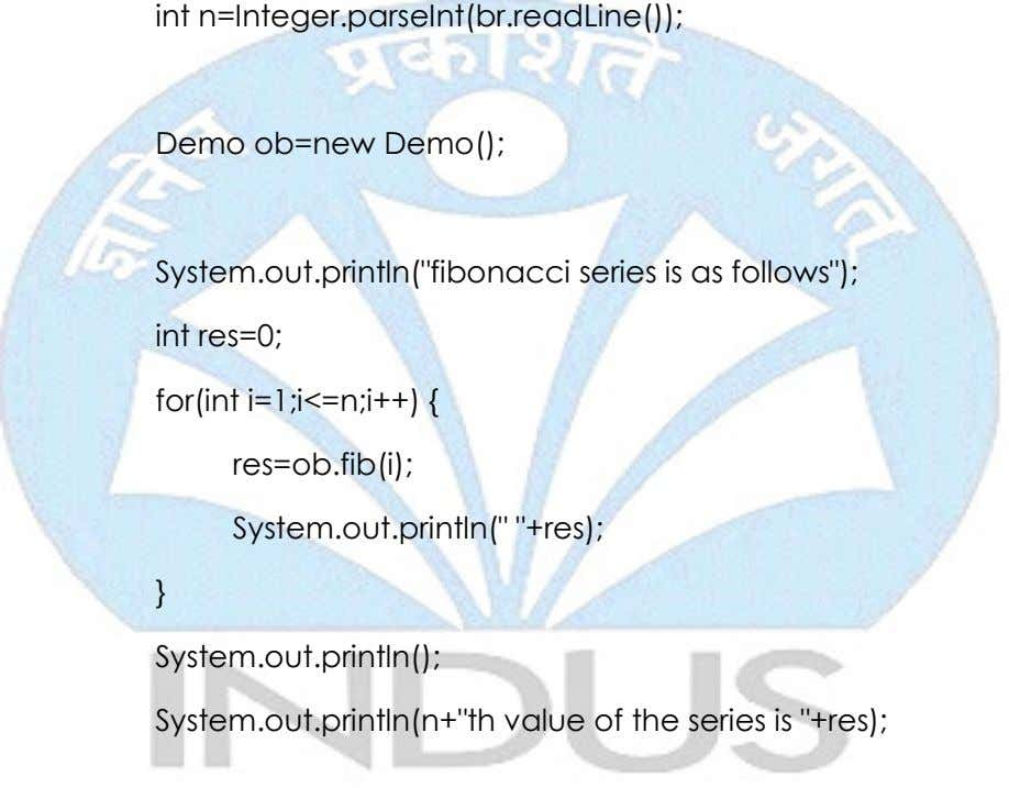 "int n=Integer.parseInt(br.readLine()); Demo ob=new Demo(); System.out.println(""fibonacci series is as follows"");"
