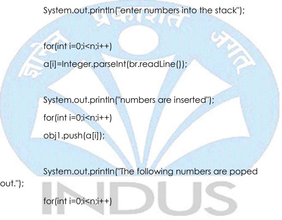 "System.out.println(""enter numbers into the stack""); for(int i=0;i<n;i++)"