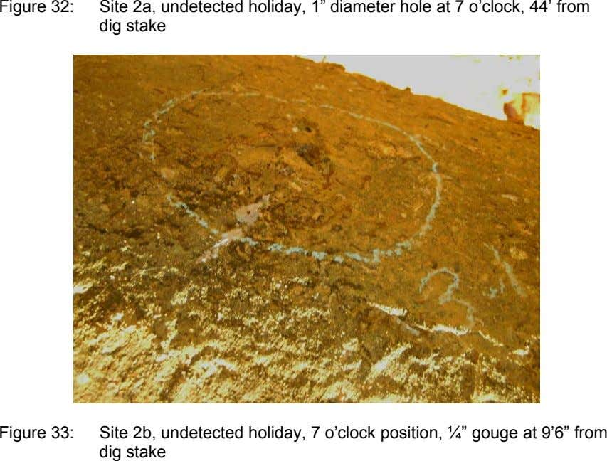 "Figure 32: Site 2a, undetected holiday, 1"" diameter hole at 7 o'clock, 44' from dig"