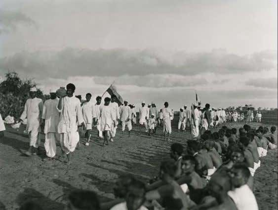 Gandhi's Dandi March—with perhaps a pinch of salt. 64 Opposite page on paper, 11 1/2 ×