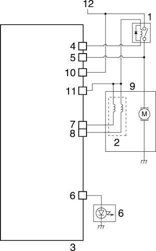 and the motor stops operating if there is a mal- function. 1. ABS motor relay 2.