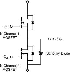 G 1 N-Channel 1 MOSFET S 1 /D 2 Schottky Diode G 2 N-Channel 2
