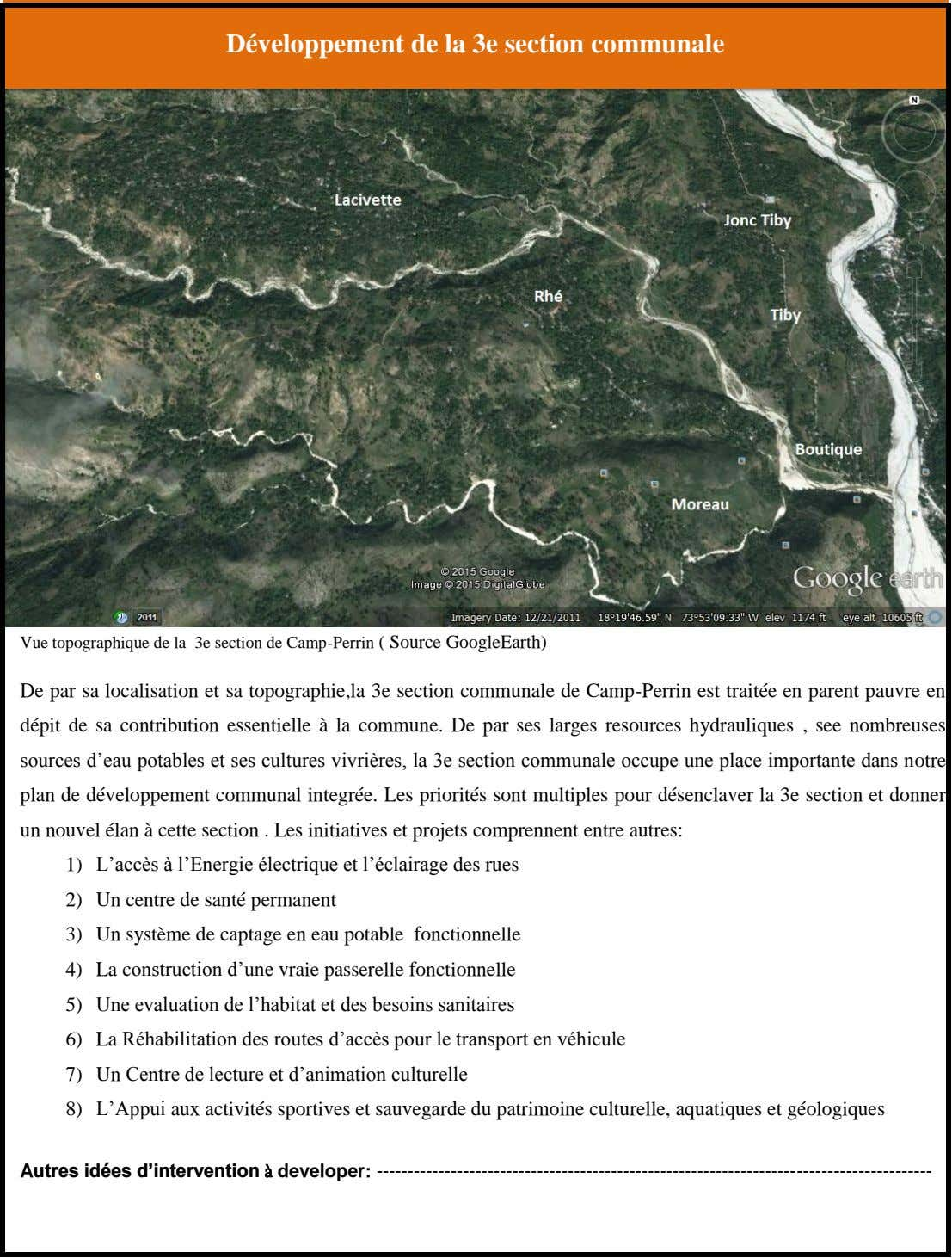 Développement de la 3e section communale Vue topographique de la 3e section de Camp-Perrin ( Source