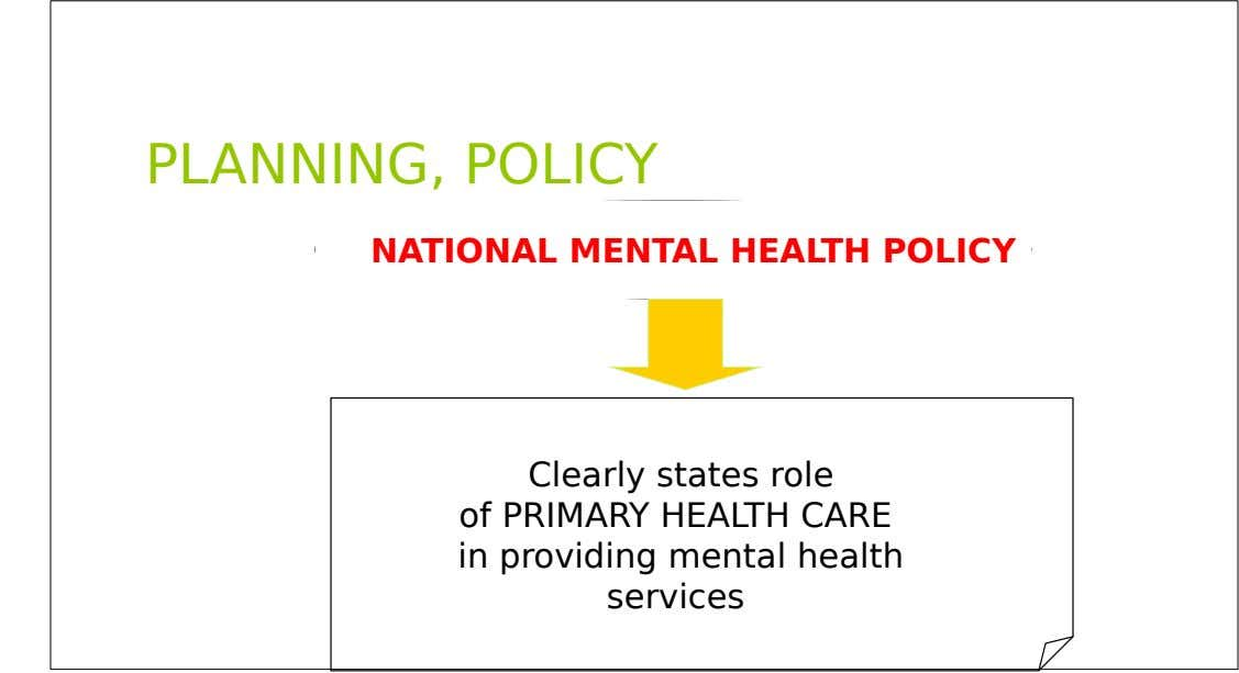 PLANNING, POLICY NATIONAL MENTAL HEALTH POLICY Clearly states role of PRIMARY HEALTH CARE in providing mental