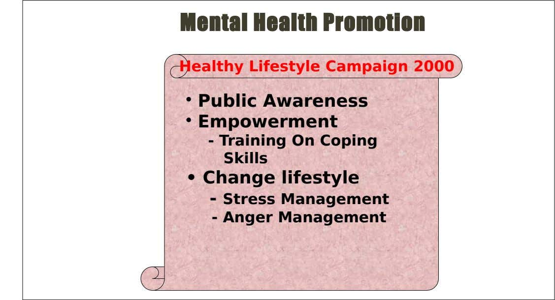 Mental Health Promotion Healthy Lifestyle Campaign 2000 • Public Awareness • Empowerment - Training On Coping