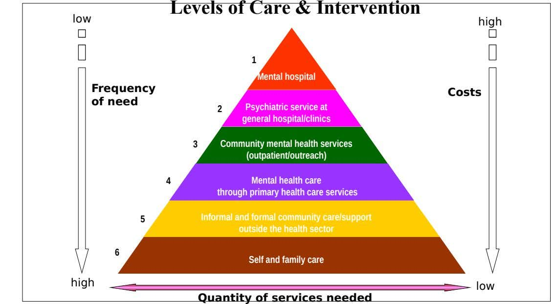 Levels of Care & Intervention low high 1 Mental hospital Frequency of need Costs 2 Psychiatric
