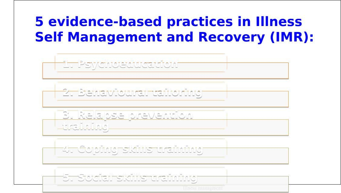 5 evidence-based practices in Illness Self Management and Recovery (IMR): 1. 1. Psychoeducation Psychoeducation 2. 2.