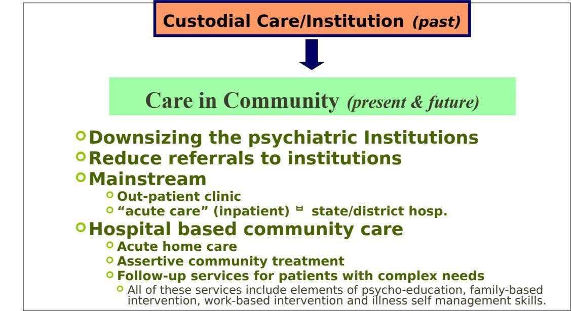 Custodial Care/Institution (past) Care in Community (present & future)  Downsizing the psychiatric Institutions  Reduce