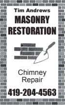 Tim Andrews MASONRY RESTORATION Chimney Repair 419-204-4563