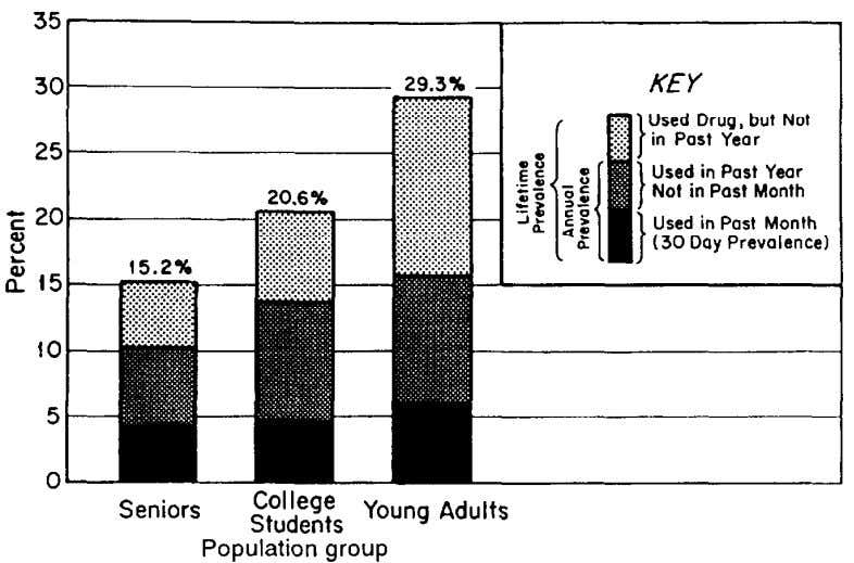 FIGURE 1. Cocaine: Lifetime, annual, and monthly prevalence among high school seniors, college students, and
