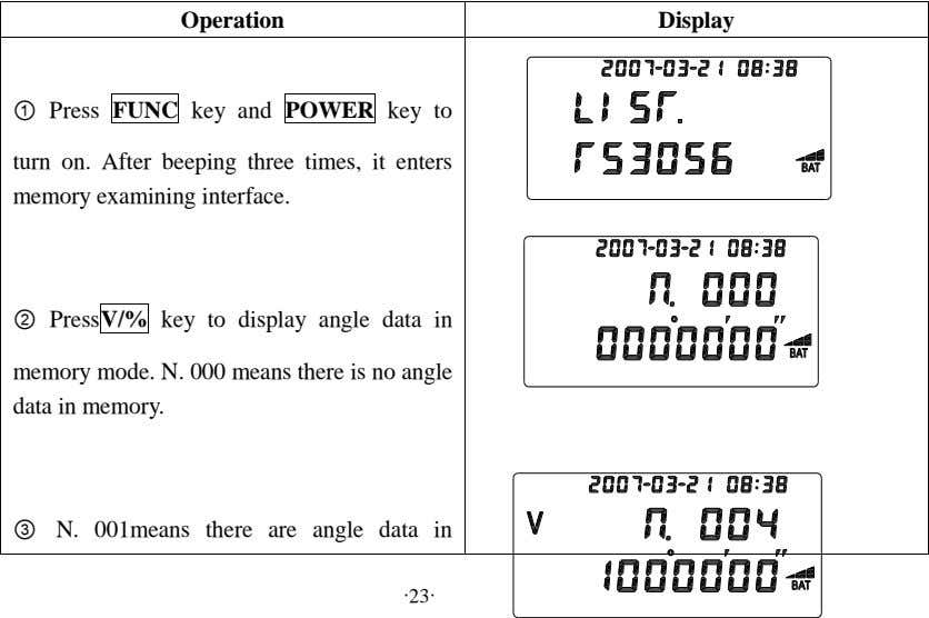 Operation Display ① Press FUNC key and POWER key to turn on. After beeping three