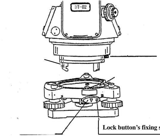 the fixing screw of the locking button with a screw driver. Tribrach Basal stump D i