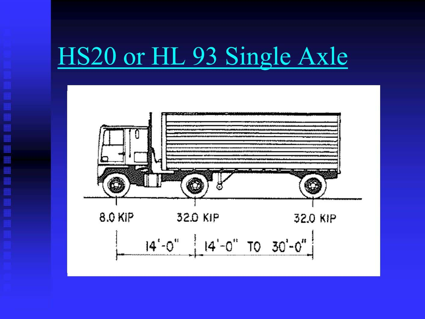 HS20 or HL 93 Single Axle