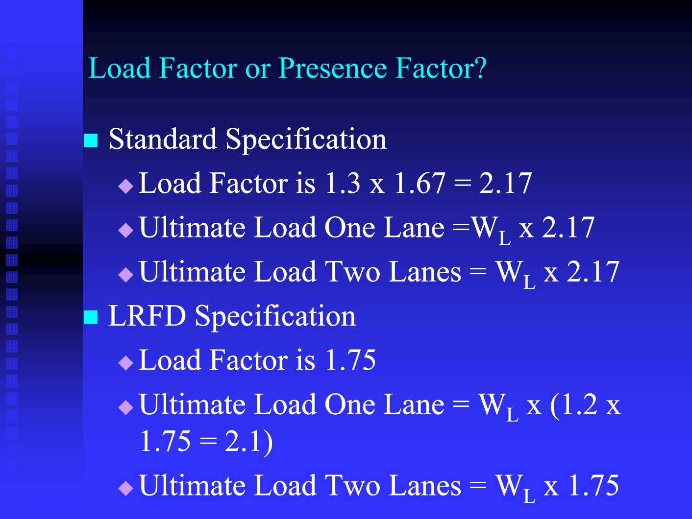 Load Factor or Presence Factor?  StandardStandard SpecificationSpecification  LoadLoad FactorFactor isis