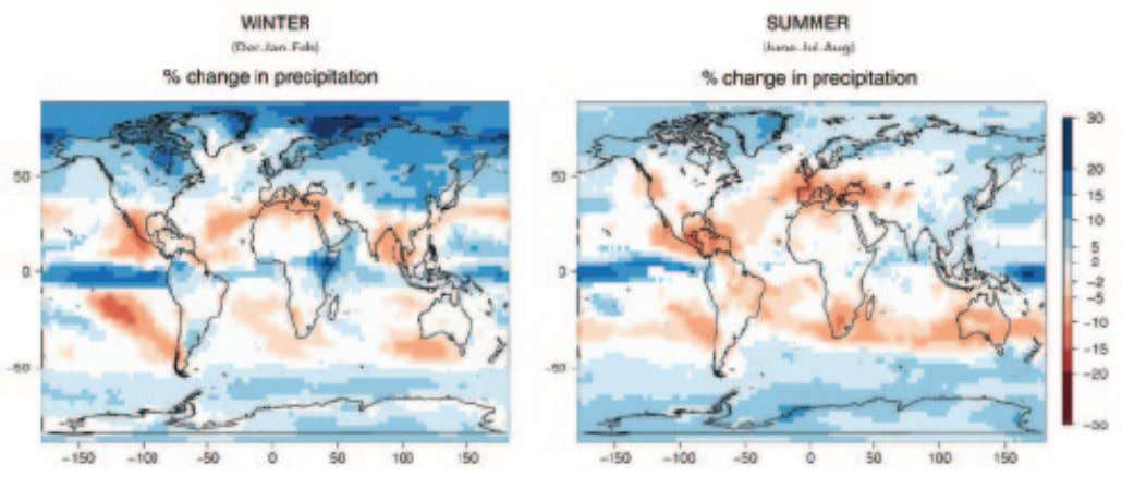 FIGURE 22 Precipitation Patterns per Degree Warming Higher temperatures increase evaporation from oceans, lakes, plants,