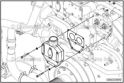 installed. Install the thermostat housing. Torque Value: 40 N•m [ 30 ft-lb ] Coolant Thermostat Pag