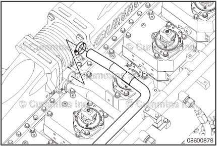 Remove the two capscrews and upper half of the transfer tube isolator. Coolant Thermostat Housing Support