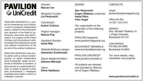 Director: BOARD CONTACTS RăzvanIon DanPerjovschi email: ResearchCurator: EugenRădescu(chairman)