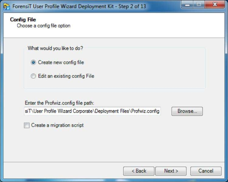 "one. To get started choose ""Create new Config file"" Step 2 also gives you the option"