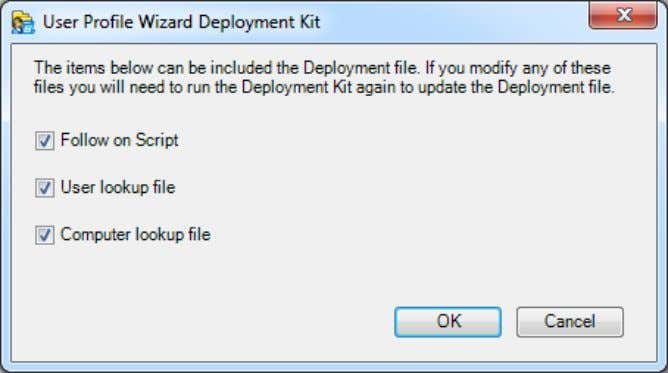 Deployment File button brings up the following dialog box: Here you can choose whether to include