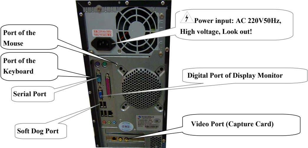 Port of the Mouse Power input: AC 220V50Hz, High voltage, Look out! Port of the