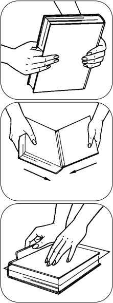 Book Repair 5. With the forefinger doubled, push the textblock into the case. 5. 6. Force