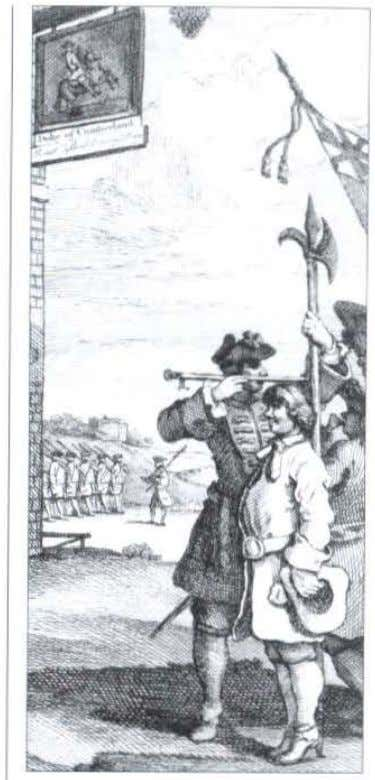 10 Recruiting. A detail of See John the Soldier, Jack the Tar by William Hogarth, depleting