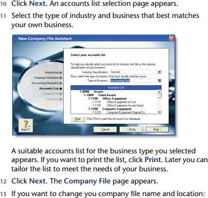 10 Click Next. An accounts list selection page appears. 11 Select the type of industry