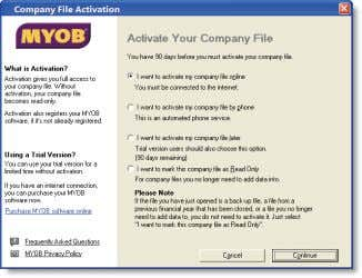 and sign on. The Company File Activation window appears. ACTIVATE THE COMPANY FILE 2 Activate your