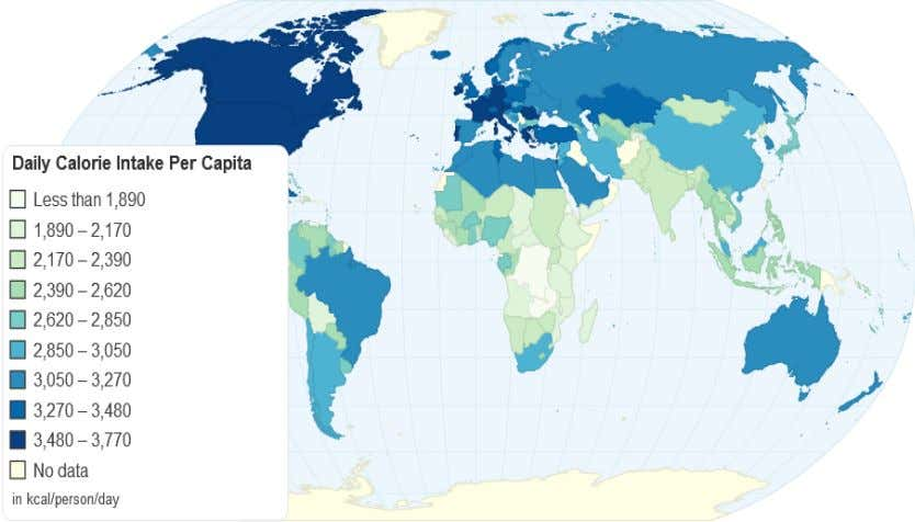This shows the global distribution of calorific intake by nation. This is shown as kcal which