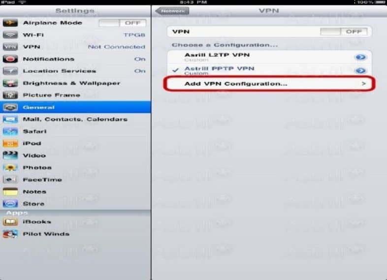 as you need. Tap Add VPN Configuration as shown below. e) Configure the settings as follows: