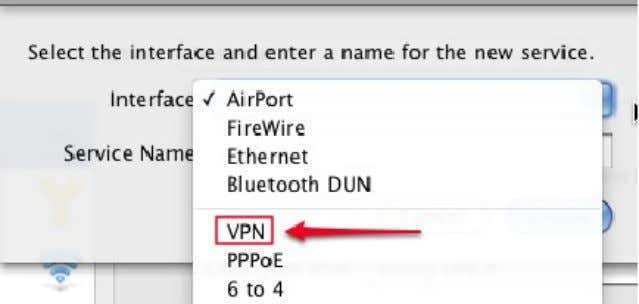 that appears, select the VPN interface as shown below: e) Click the VPN Type menu and
