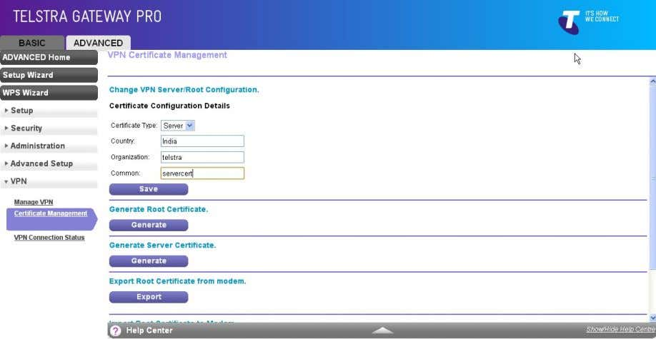 – India, Organization – Telstra, Common – servercert. g) Click the Generate button under Generate Root