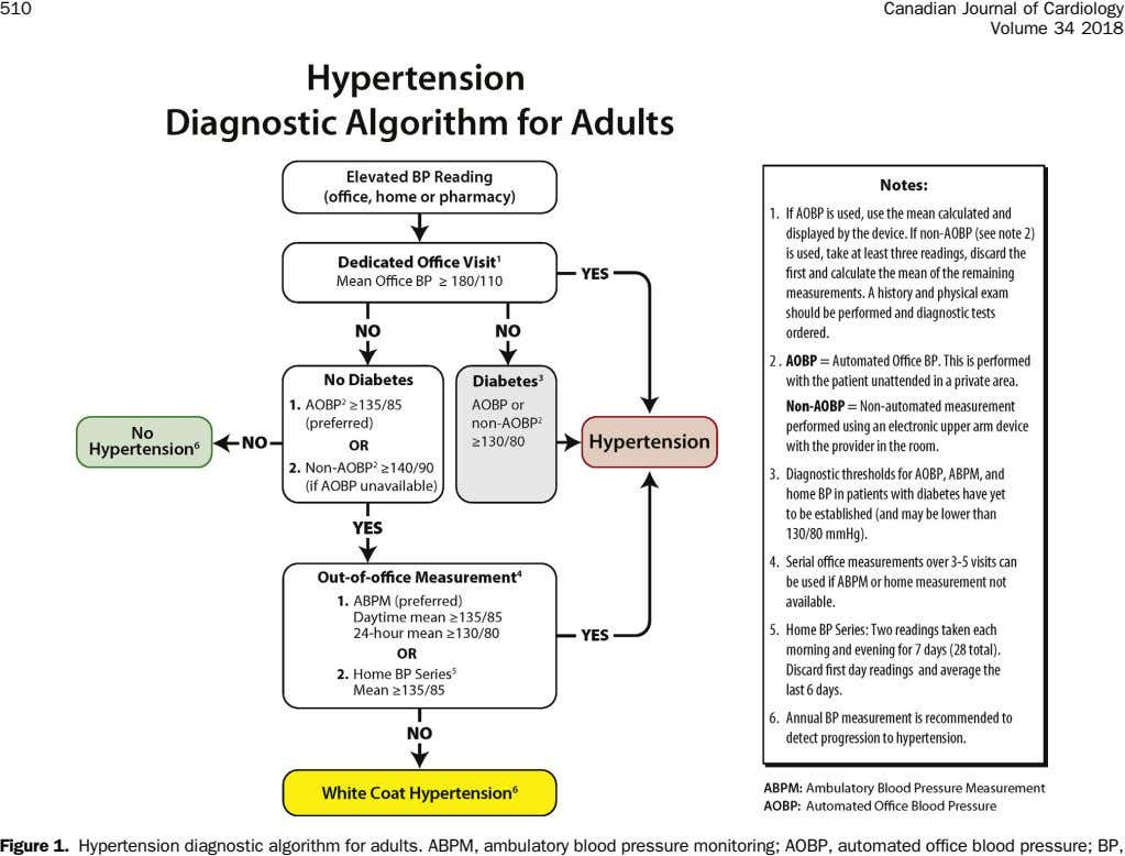 510 Canadian Journal of Cardiology Volume 34 2018 Figure 1. Hypertension diagnostic algorithm for adults.