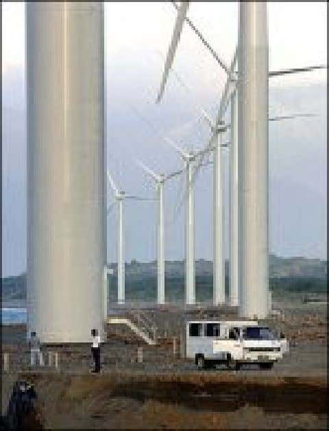 Windmills in the Philippines • Located at Bangui Bay , in the Ilocos Norte province of