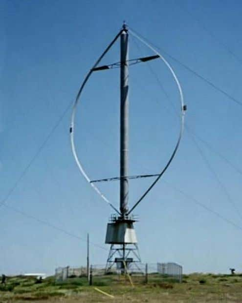 • One design of a modern windmill has two curved blades that spin on a vertical