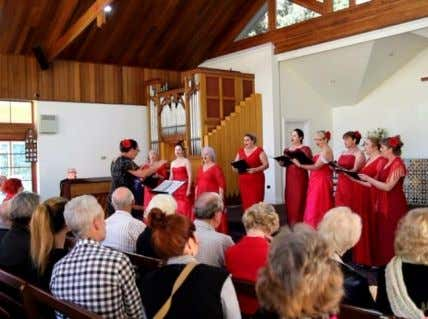 of the concert. The place, St. George's Anglican Church. Tamborine Voices, conducted by Tania Edmunds. A