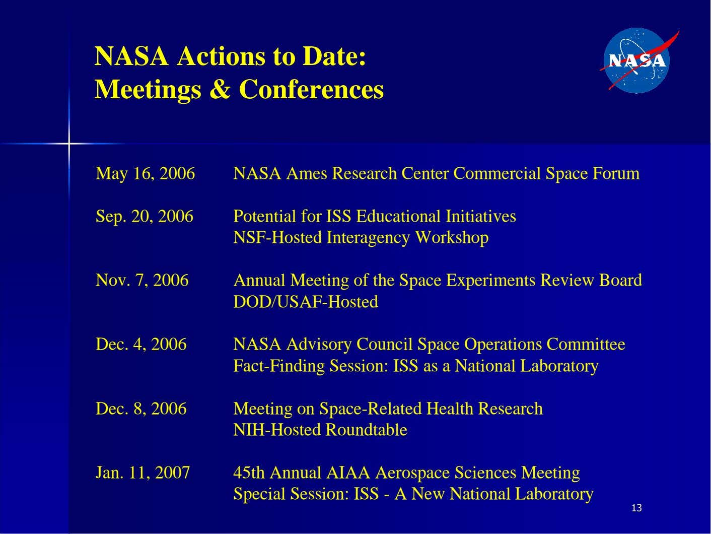 NASA Actions to Date: Meetings & Conferences May 16, 2006 NASA Ames Research Center Commercial