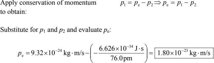 Apply conservation of momentum to obtain: p 1 = p − p ⇒ p =