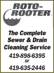 The Complete  Sewer  & Drain  Cleaning  Service 419-898-6395 or 419-635-2446
