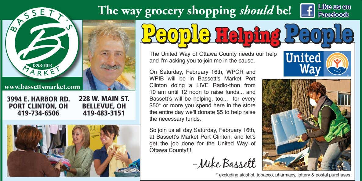 Like us on The way grocery shopping should be! Facebook People Helping People The United