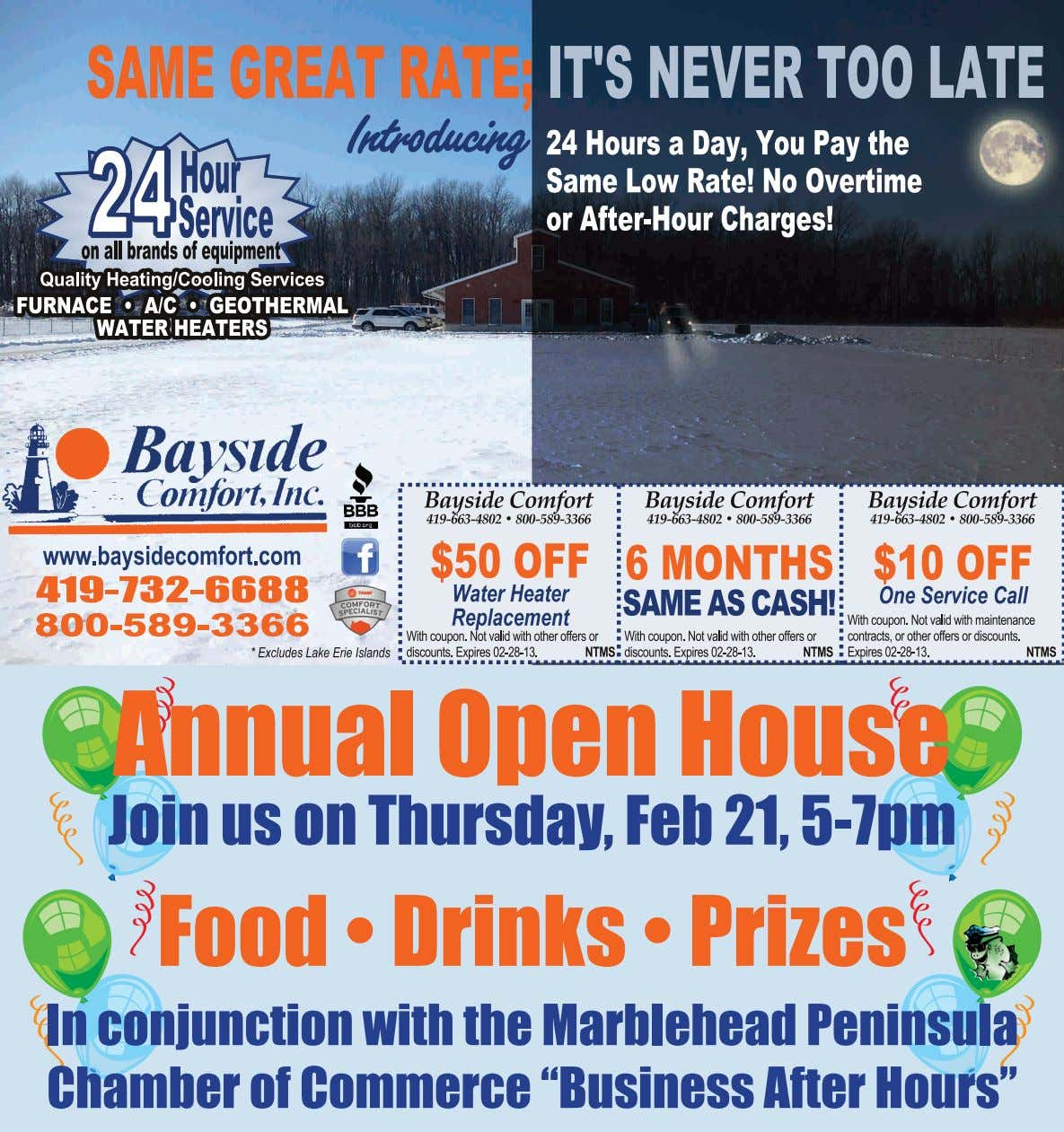 419-732-6688 Annual Open House Join us on Thursday, Feb 21, 5-7pm Food • Drinks •