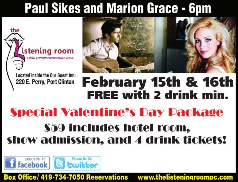 Paul Sikes and Marion Grace - 6pm Located inside the Our Guest Inn: 220 E.