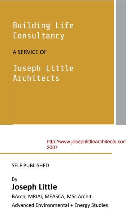 Building Life Consultancy Joseph Little Architects