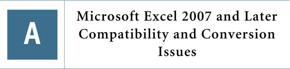 A Microsoft Excel 2007 and Later Compatibility and Conversion Issues